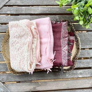 4/$25 3 pack scarf bundle pink burgundy floral